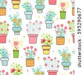 doodles cute seamless pattern.... | Shutterstock .eps vector #595290677