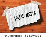 social media handwritten on... | Shutterstock . vector #595294331