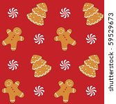 Gingerbread cookies seamless pattern - raster version - stock photo