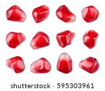 pomegranate. fresh raw seeds of ... | Shutterstock . vector #595303961