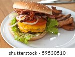 Hamburger with salad and cheese - stock photo