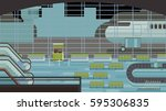 background of hall at airport. | Shutterstock .eps vector #595306835