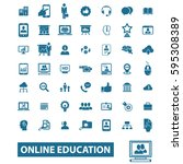 online education icons | Shutterstock .eps vector #595308389