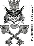 tattoo owl and key | Shutterstock .eps vector #595311287
