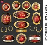 golden badges and labels with... | Shutterstock .eps vector #595313081