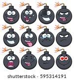 bomb face cartoon mascot...   Shutterstock .eps vector #595314191