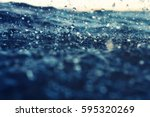 sea wave close up at sunset in... | Shutterstock . vector #595320269