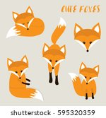 set of cute cartoon foxes in... | Shutterstock .eps vector #595320359