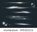 vector set of glow lightning...   Shutterstock .eps vector #595322111