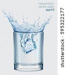 transparent vector water splash ... | Shutterstock .eps vector #595322177