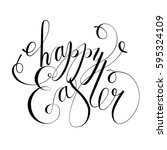 happy easter card  invitation.... | Shutterstock .eps vector #595324109