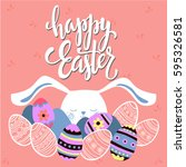 colorful happy easter greeting... | Shutterstock .eps vector #595326581