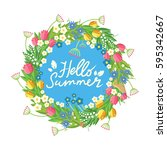 flower wreath with hand drawn... | Shutterstock .eps vector #595342667