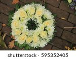 sympathy wreath made of various ... | Shutterstock . vector #595352405