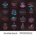 8 march typography set. womens... | Shutterstock .eps vector #595353431
