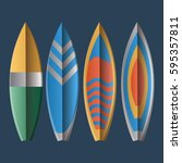 set of surfboards on a blue... | Shutterstock .eps vector #595357811