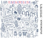 hairdressing hand drawn doodle... | Shutterstock .eps vector #595357871