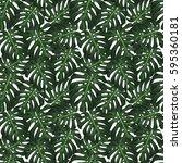 monstera tropical leaves... | Shutterstock .eps vector #595360181