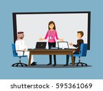 business people having board... | Shutterstock .eps vector #595361069