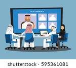 business people having board... | Shutterstock .eps vector #595361081