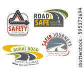 road and drive safety sign icon.... | Shutterstock .eps vector #595372694