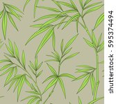 seamless pattern with bamboo... | Shutterstock .eps vector #595374494