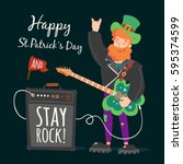 vector rock leprechaun st.... | Shutterstock .eps vector #595374599