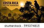 vector panorama of costa rica... | Shutterstock .eps vector #595374815