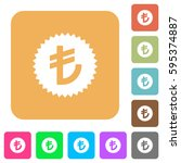turkish lira sticker flat icons ... | Shutterstock .eps vector #595374887