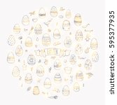 hand drawn doodle easter icons... | Shutterstock .eps vector #595377935