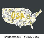 map of united states in cartoon ... | Shutterstock .eps vector #595379159