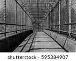 steel gate walkway. walkway... | Shutterstock . vector #595384907