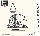 thin line ayurvedic treatments. ... | Shutterstock .eps vector #595386419