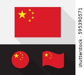 set of china flag flat design ... | Shutterstock .eps vector #595390571