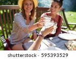 leisure  holidays  eating ... | Shutterstock . vector #595393529