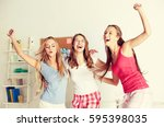 friendship  people and pajama... | Shutterstock . vector #595398035