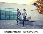 fitness  sport  people and... | Shutterstock . vector #595399691