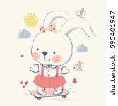 bunny rabbit on skateboard hand ...   Shutterstock .eps vector #595401947