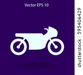 flat motorcycle icon | Shutterstock .eps vector #595406429