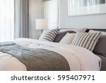 set of pillows and blanket on... | Shutterstock . vector #595407971