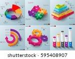 set of 3d paper infographic... | Shutterstock .eps vector #595408907