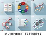 set of paper infographics with... | Shutterstock .eps vector #595408961