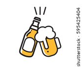 Stock vector beer icon thin line for web and mobile modern minimalistic flat design 595425404