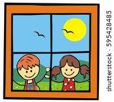 window and children  landscape  ... | Shutterstock .eps vector #595428485