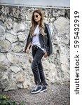 beautiful young woman wearing... | Shutterstock . vector #595432919