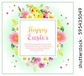 colorful easter wreath with...   Shutterstock .eps vector #595435049