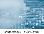 row of coins with night city... | Shutterstock . vector #595435901