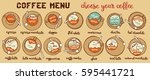coffee menu. coffee set. latte  ... | Shutterstock .eps vector #595441721