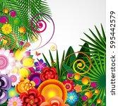 flowers spring design... | Shutterstock . vector #595442579