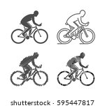 silhouettes of bicycle. set of... | Shutterstock . vector #595447817